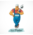 Plumber with monkey wrench vector