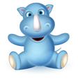 Cute baby rhino cartoon sitting vector