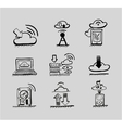 Hand drawn cloud concepts black icon set vector