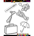 Cartoon objects coloring page vector