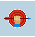 Target and hand holding arrow in flat style vector