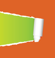 Tearing paper on orange vector