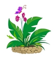 Bed with a tropical plant vector