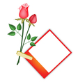 Two beautiful red roses with blank photos vector