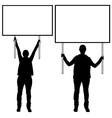 Women holding different signs vector
