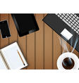 Digital tablet with coffee cup and phone vector