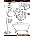 Cartoon hygiene objects coloring page vector