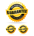 Three gold labels vector