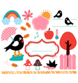 Cute swallow and autumn elements set vector