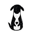 Silhouette icon of cat and dog friendship vector