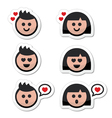 Man and woman in love valentines icons set vector