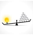 Many small idea compare with big idea concept vector