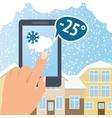 Weather smart phone snow vector
