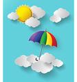 Colorful umbrella on sky vector
