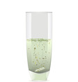 Glass beaker with tablet disolving in water vector