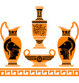 Set of hellenic vases stencils vector