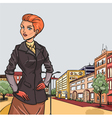 Urban panorama with elegant girl on front vector