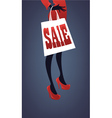 Girl in red dress with shopping bag vector