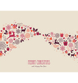 Merry christmas vintage elements composition file vector