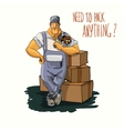 Delivery man with tape dispenser vector