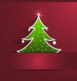 Paper christmas tree with shadow on red background vector