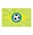 Football soccer ball brazil flag scribble effect vector