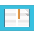 Flat book icon on blue background vector