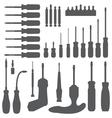 Various screwdriver silhouette set vector