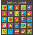 Colored doodle icons vector