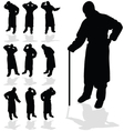 Sick man black silhouette vector