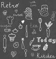 Vintage kitchen set on chalkboard design elements vector