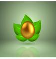 Golden egg in green leaves vector