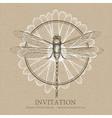 Dragonfly sketch invitation card vector