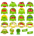 Fruits and vegetables labels set vector
