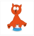 Cat with bowl vector