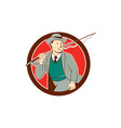 Vintage fly fisherman bowler hat cartoon vector