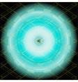 Dark blue light technology grid circle on black ba vector
