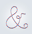 Striped font ampersand character vector