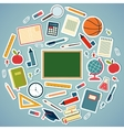 School tools and supplies on a blue background vector