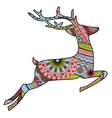 Jumping deer in christmas colors vector