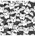Seamless halloween kawaii cartoon pattern with vector