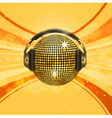 Gold disco ball with headphones on an orange backg vector