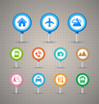 Map pins with transportation icons set vector