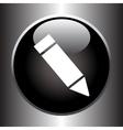 Pencil icon on black button vector