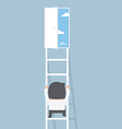 Businessman climbing ladder to the door of freedom vector