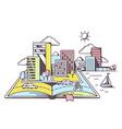 Cartoon open book with modern city vector