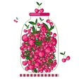 Bank with cherry jam for your design vector