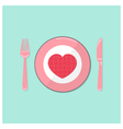 Puzzle heart on disk with fork and spoon vector