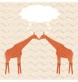 Two giraffes over stripy background vector