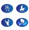 Horse wings logo symbol vector